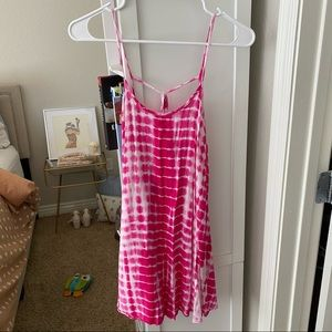 Pink tie dye strappy sun dress cover up